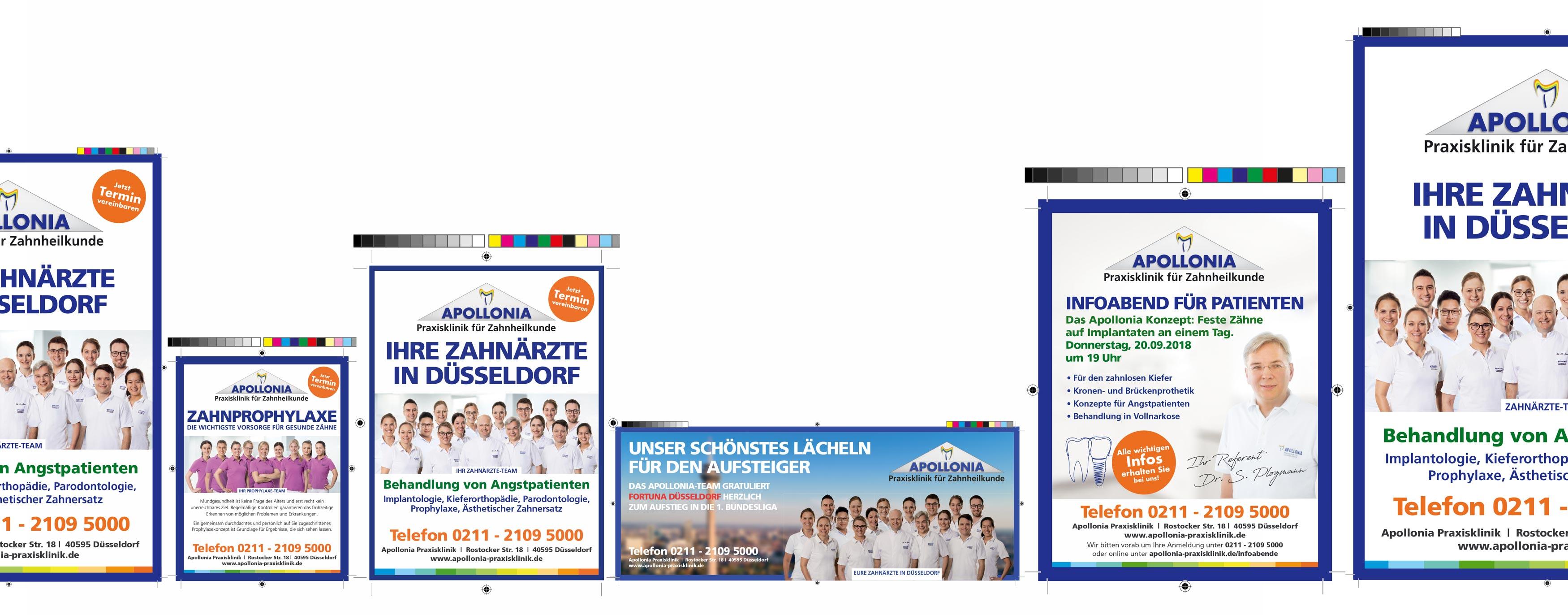 Printmedien für Apollonia Praxisklinik made by Onelio Werbeagentur Düsseldorf