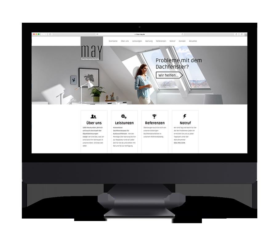 Responsive Webdesign für May Dachfenstertechnik made by Onelio Werbeagentur Düsseldorf