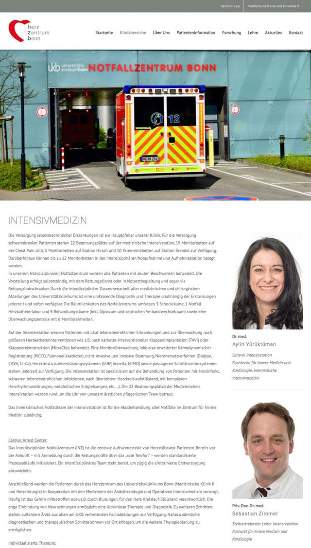 Responsive Webdesign für das Herzzentrum Bonn made by Onelio Werbeagentur Düsseldorf