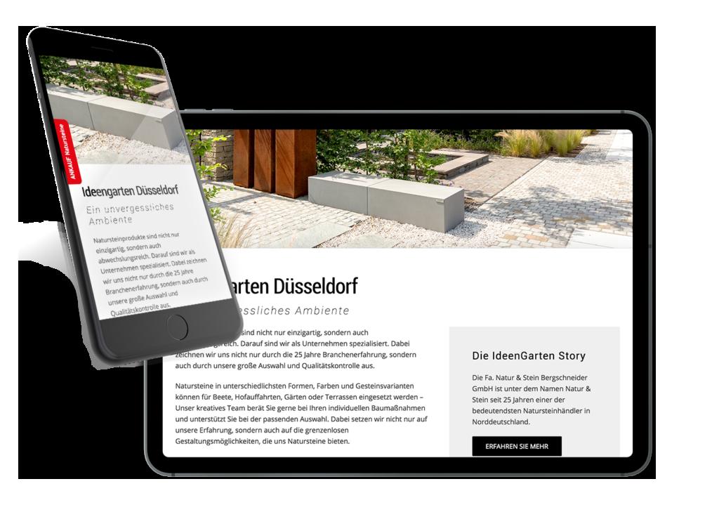 Responsive Webdesign für Natur & Stein - made by Onelio Werbeagentur Düsseldorf