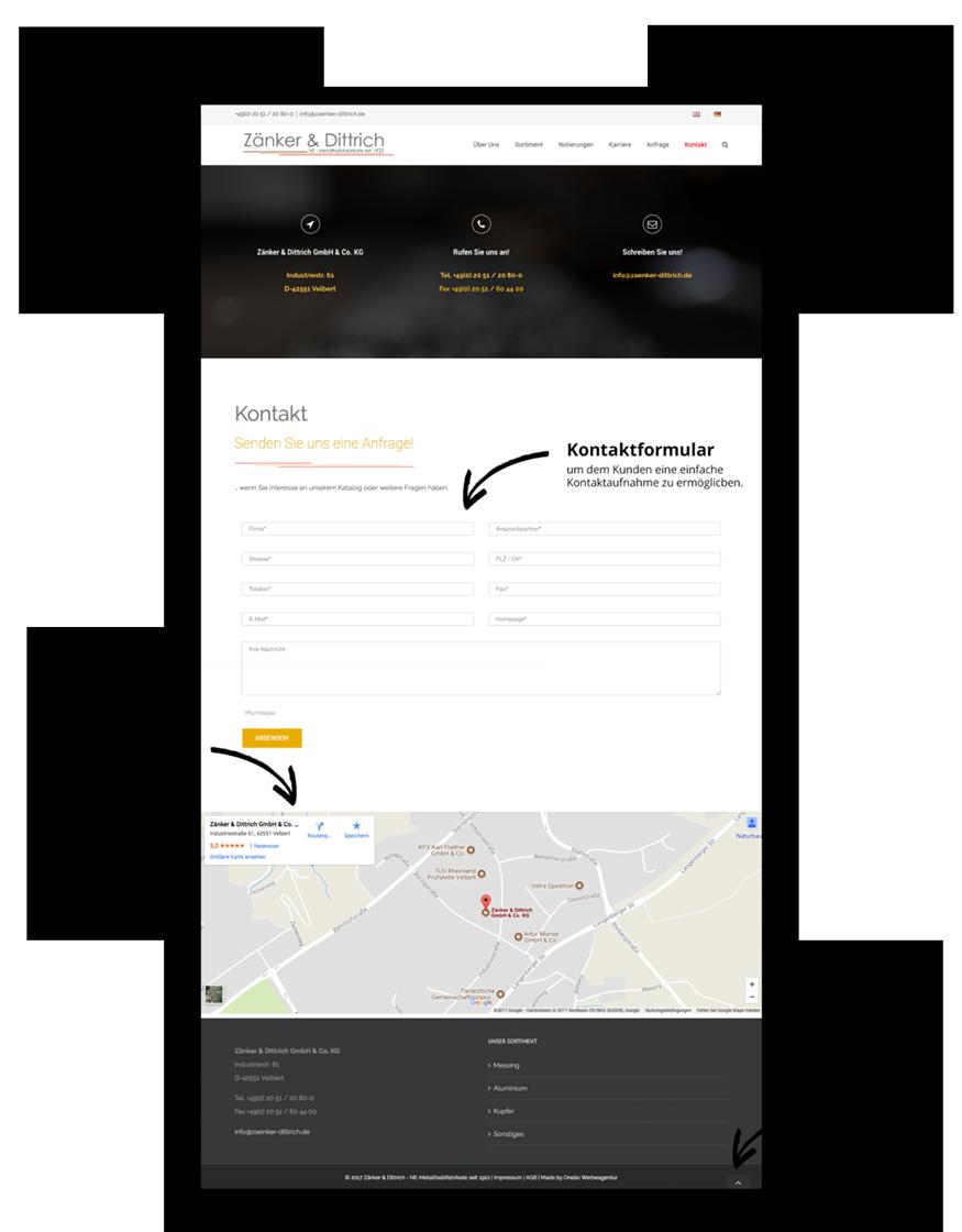 Responsive Webdesign für Zänker & Dittrich made by Onelio Werbeagentur Düsseldorf